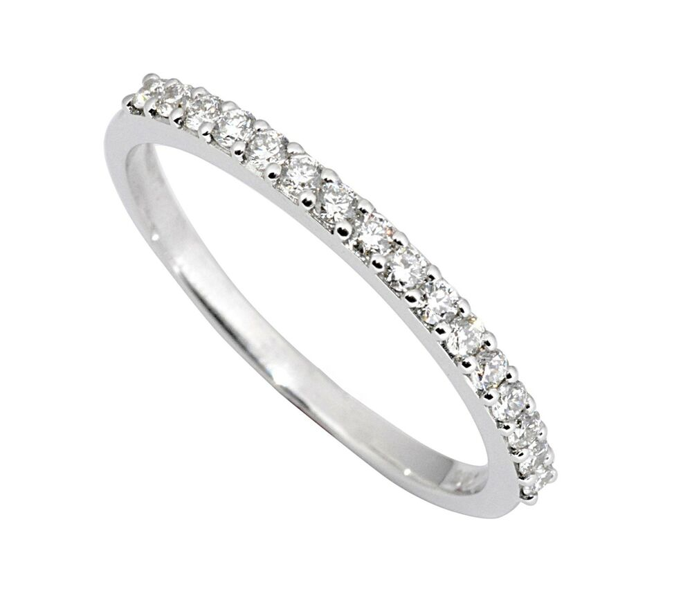 0 25ct traditional bridal 14k white gold wedding band with