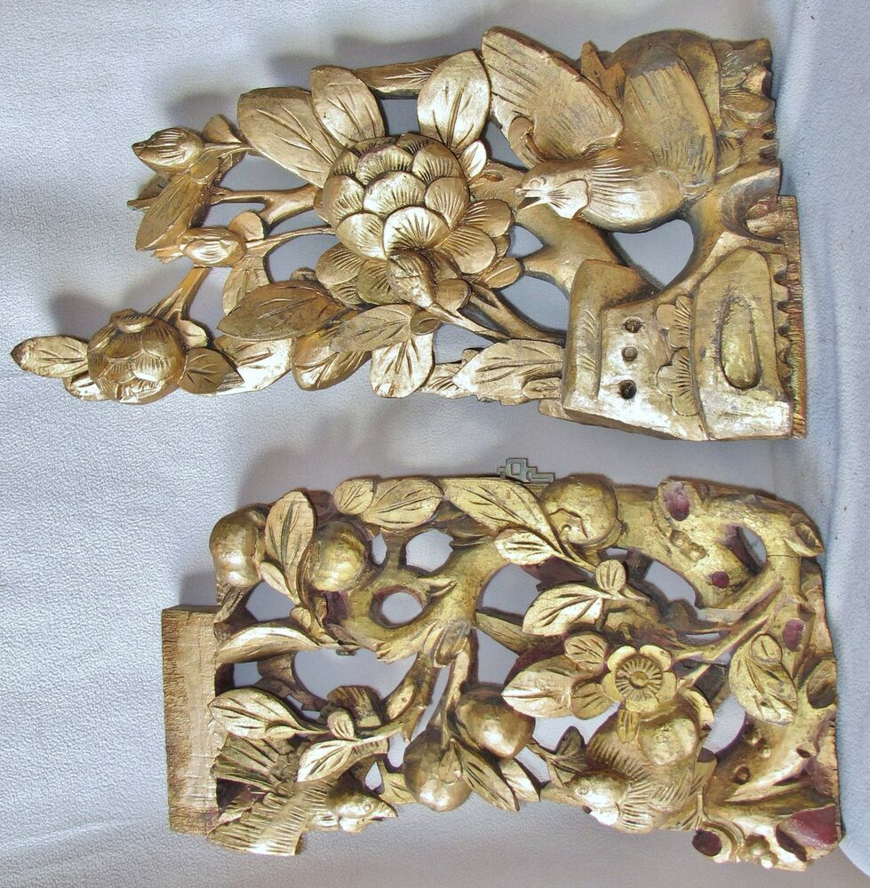 Antique chinese carved gold painted wood panels of