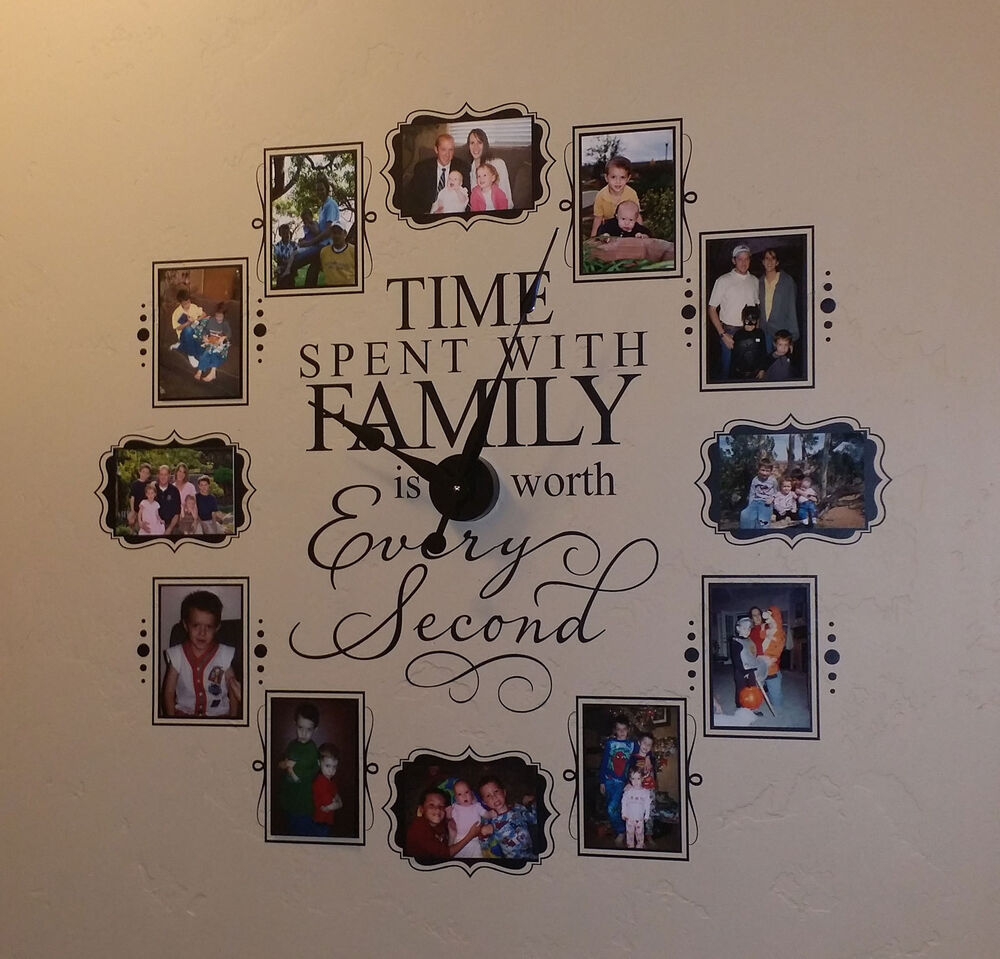 Vinyl Wall Clock Time Spent With Family 5 X 7 Photos In Black Vinyl