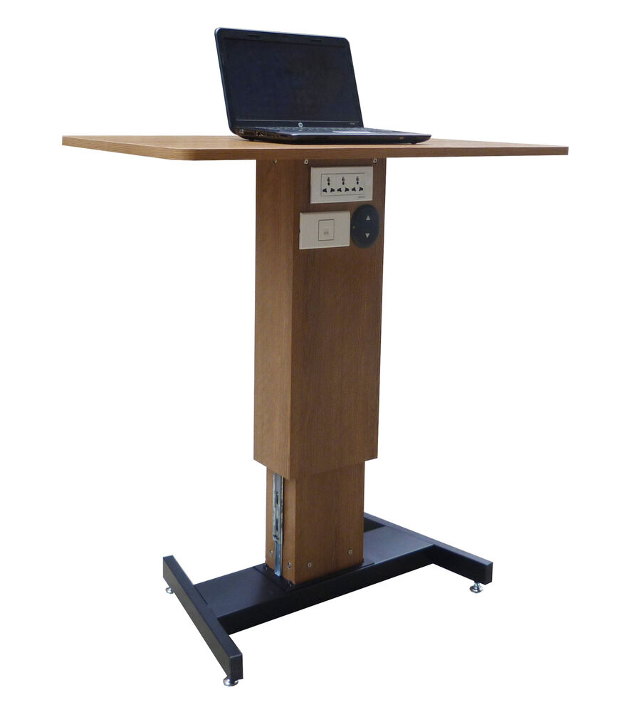 sit stand desk workstation computer desk stand up adjustable height bench table ebay. Black Bedroom Furniture Sets. Home Design Ideas