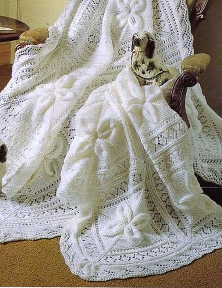Knitting Pattern Baby Blanket Double Knitting : BABY KNITTING PATTERN DOUBLE KNIT SHAWL & COT BLANKET eBay