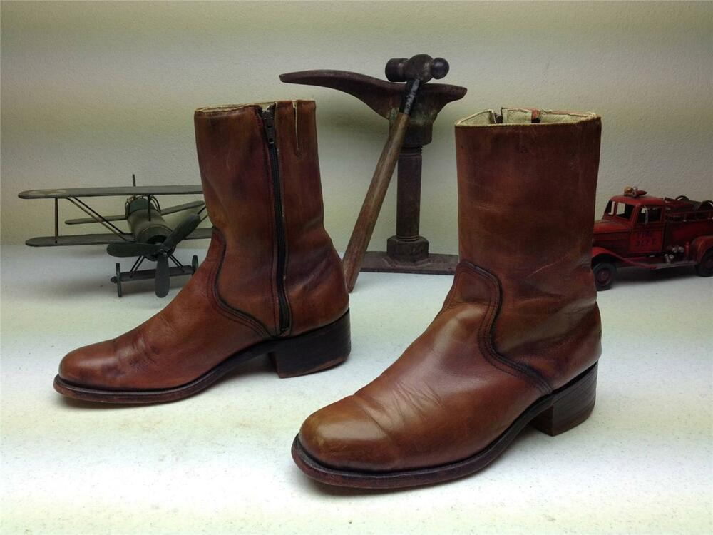 Vintage made in usa frye brown leather zip up hipster beatle boots