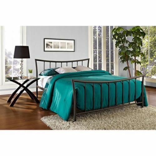 Bronze metal platform bed frame twin full queen size for Full size bed frame and dresser
