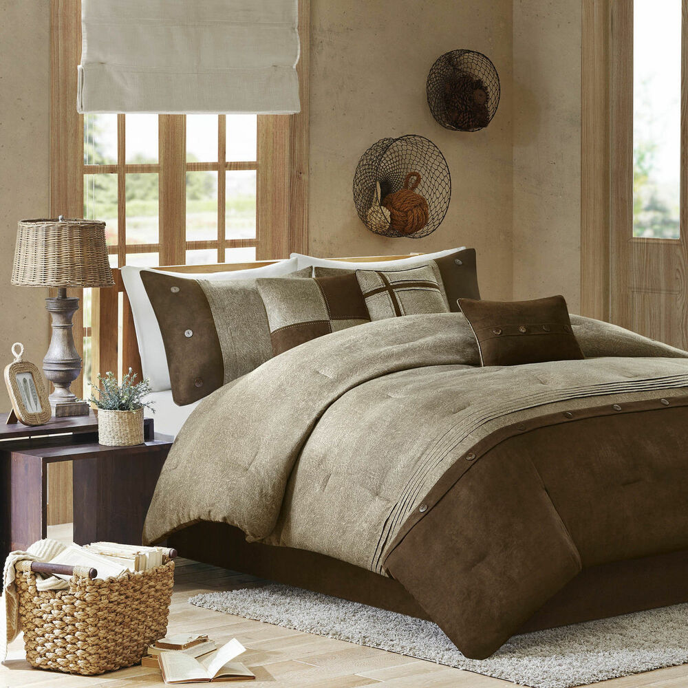 Beautiful cozy soft modern 7 pc cabin brown taupe tan beige comforter set new ebay - Beige slaapkamer taupe ...