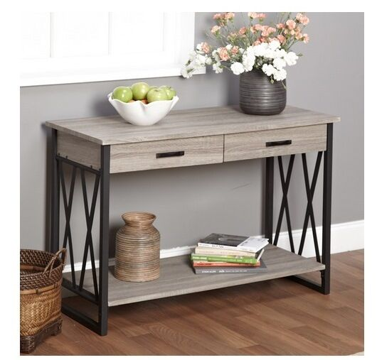 New Grey Rustic Reclaimed Wood Sofa Table Console Metal