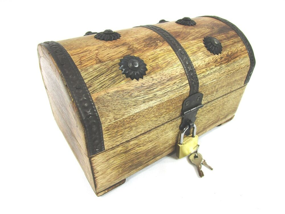 Wood Pirate Chest ~ Wood chest pirate treasure wooden box