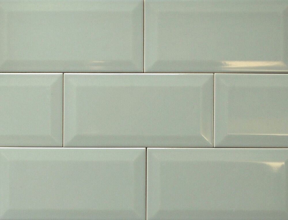 Olive Green 4x8 Beveled Subway Ceramic Tile Wall