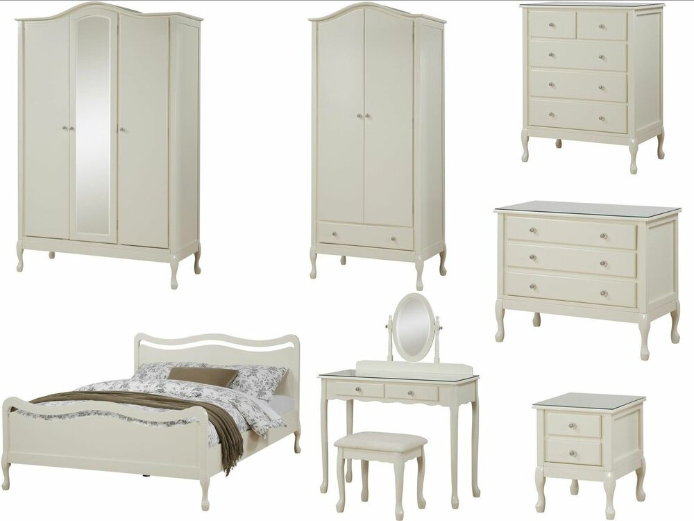 loire shabby chic ivory bedroom furniture wardrobe chest bed