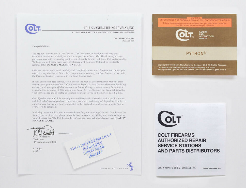 Colt Python 1993 Manual Repair Stations And Colt Letter