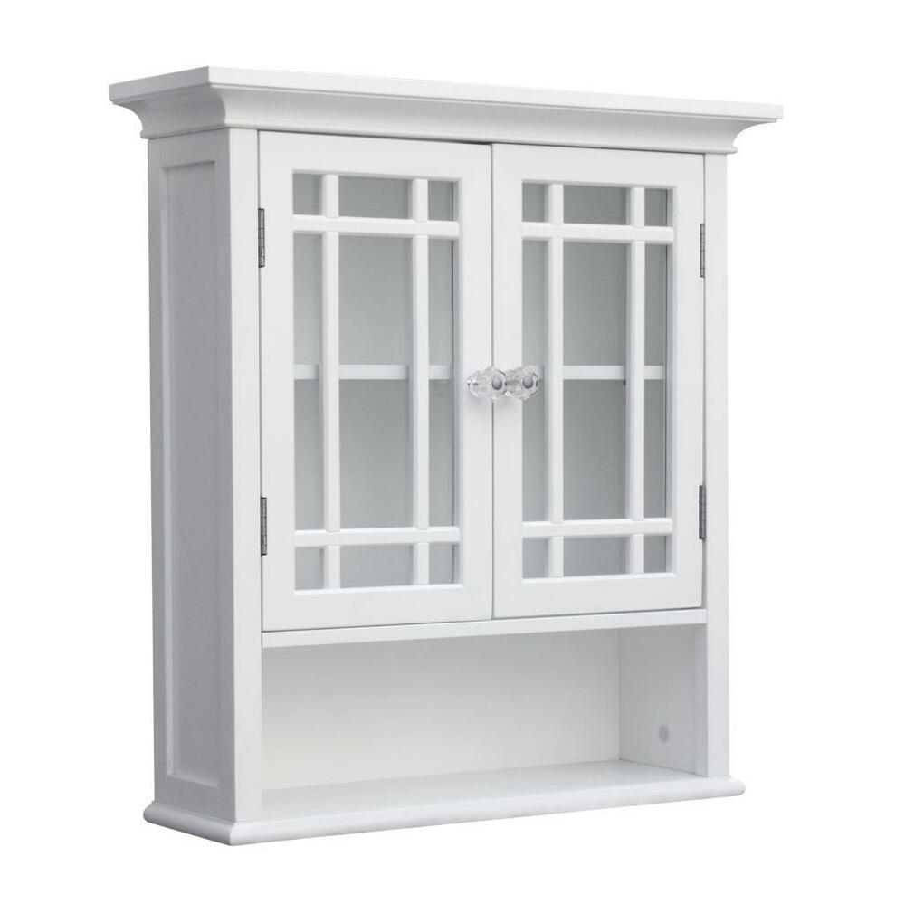 neal wall mount cabinet w 2 doors for bathroom storage white or