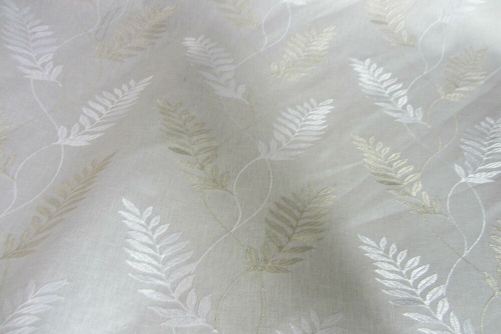 Leaf white embroidered linen curtain craft upholstery