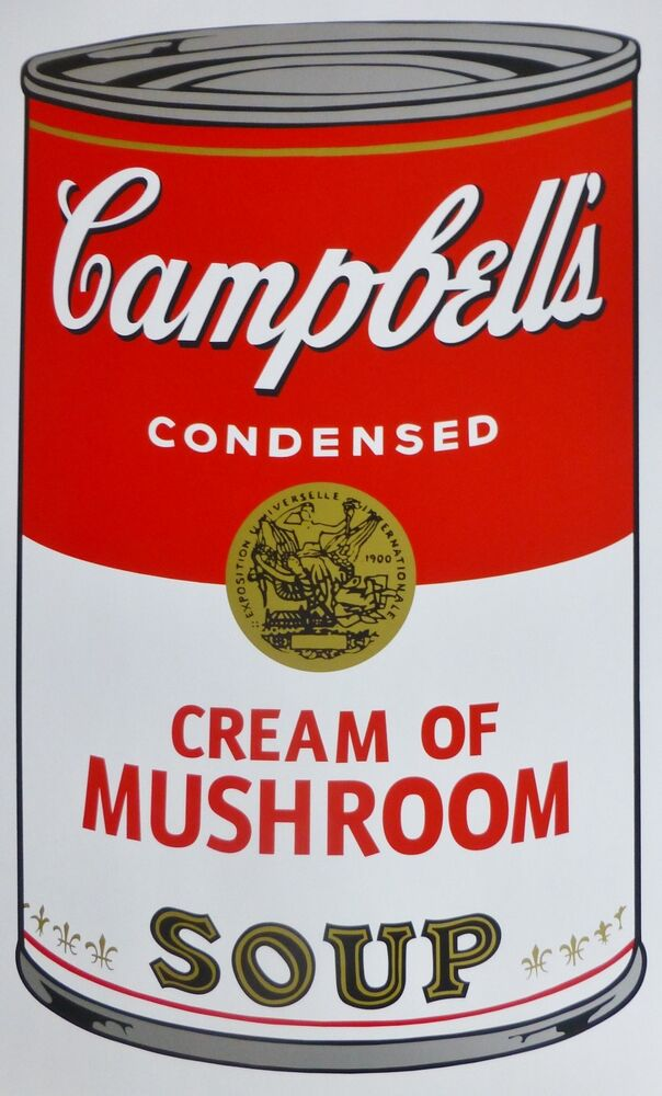 andy warhol campbells 39 cream of mushroom soup can sunday b. Black Bedroom Furniture Sets. Home Design Ideas