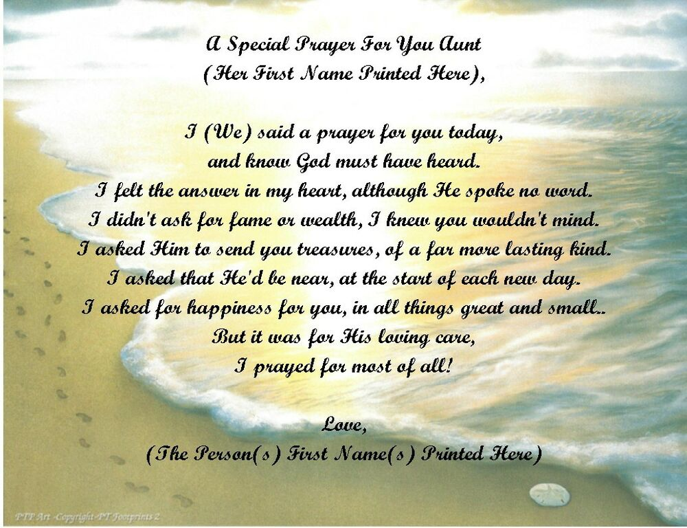 A Special Prayer For You Personalized Poem Gift For Aunt