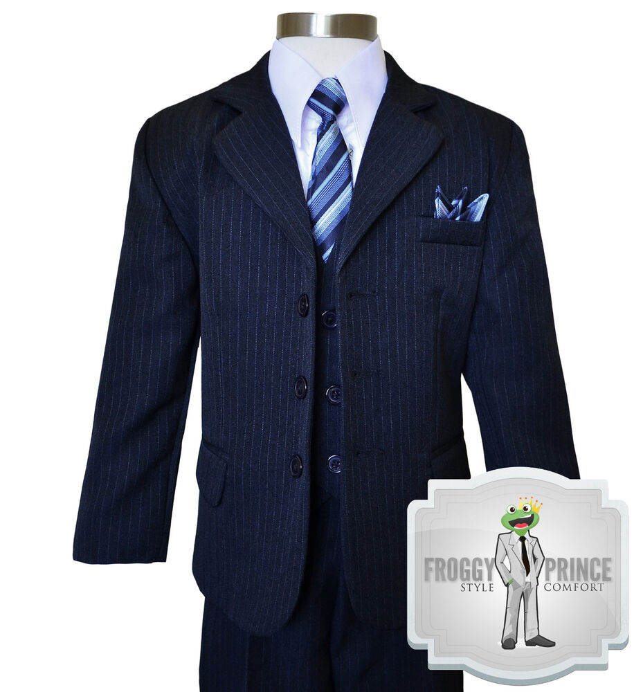 Navy Pinstripe Suit With Black Shoes