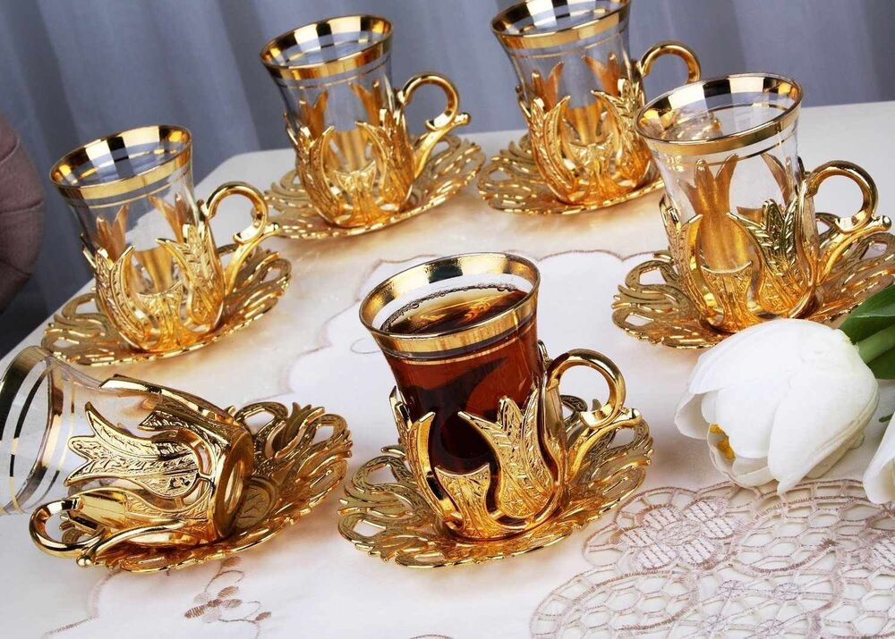 24 Pcs Turkish Tea Glasses Set With Holder Handles Saucers