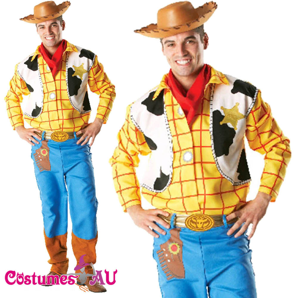 Licensed Mens Toy Story Woody Costume Adults Disney Wild Western ...
