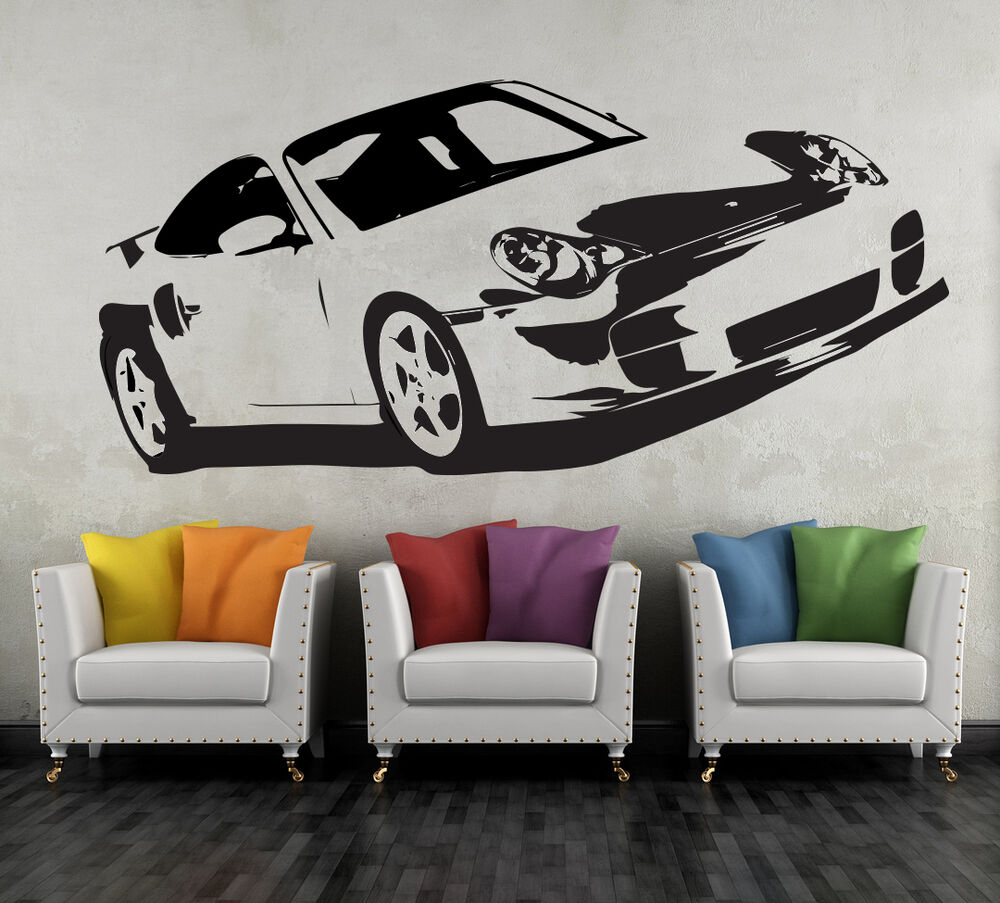 porsche 911 sportwagen xl 108 x 50 cm wandtattoo deko sticker aufkleber auto ebay. Black Bedroom Furniture Sets. Home Design Ideas