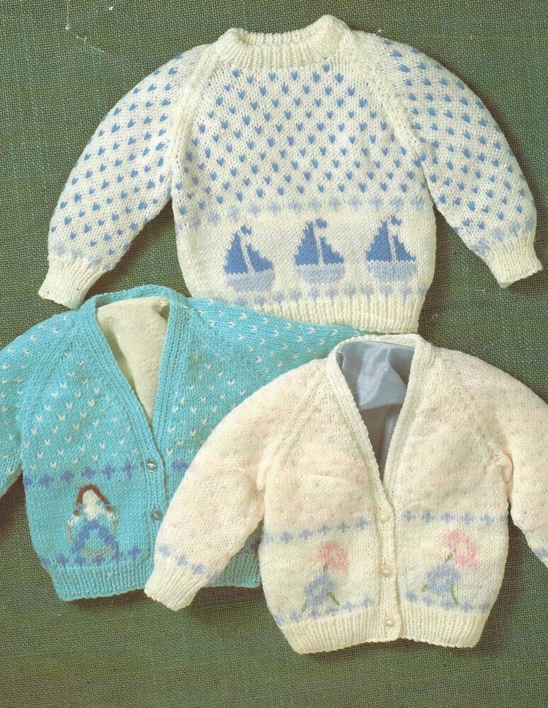 Baby Knitting Pattern Cardigans with Boat, Flower, Child ...
