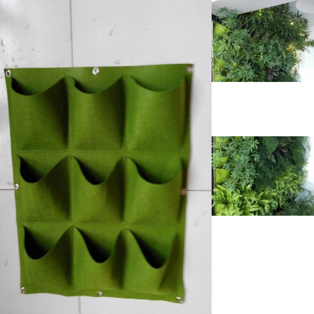 9 pocket green vertical garden planter wall mounted planting flower grow bag new ebay - Wall mounted planters outdoor ...
