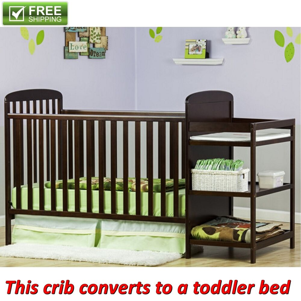 5 Cool Cribs That Convert To Full Beds: Full Size Crib With Changer Espresso 2 In 1 Toddler Kid
