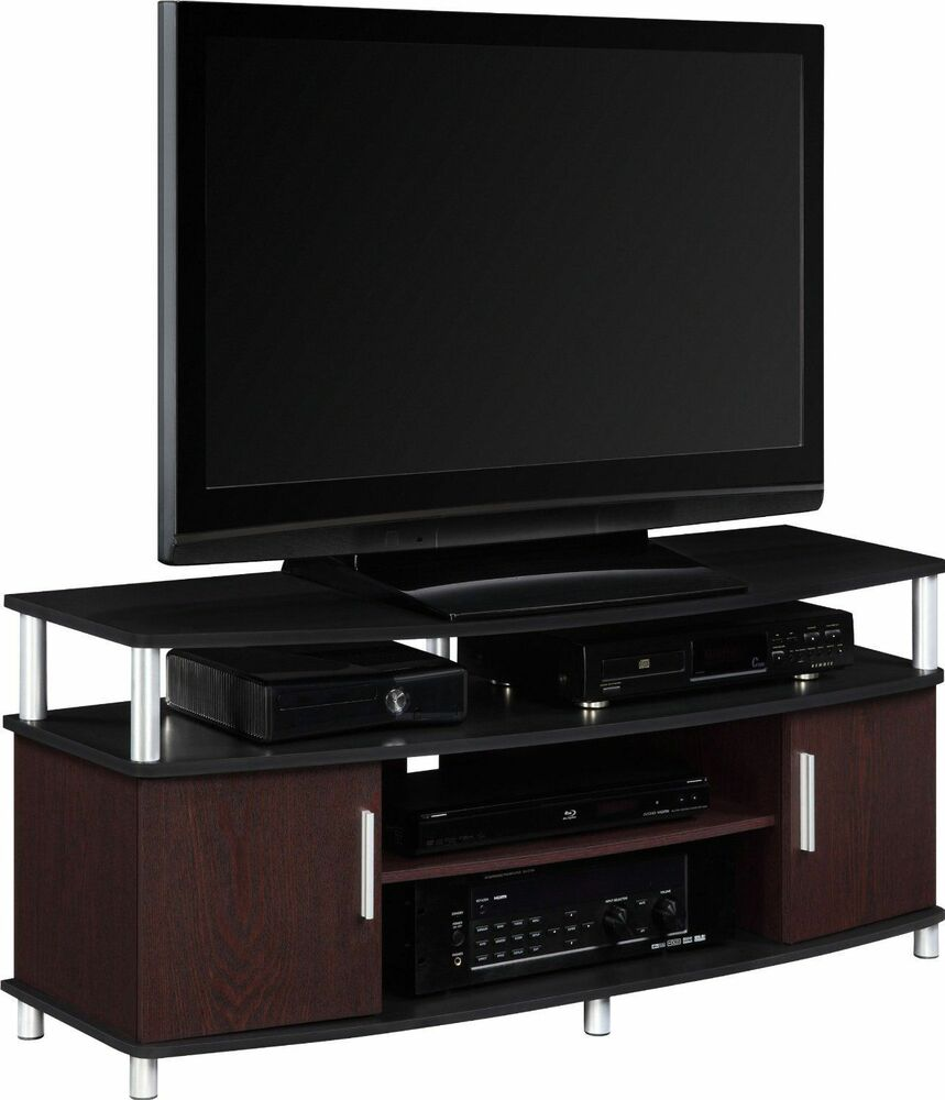 tv stand console entertainment media center storage furniture 50 black cherry ebay. Black Bedroom Furniture Sets. Home Design Ideas