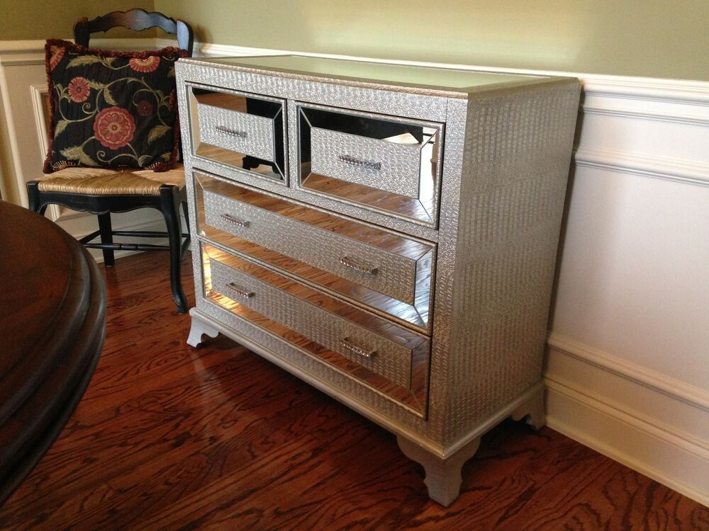 Hollywood Regency Mirrored Console Cabinet Chest Silver Bedroom Furniture Glam Ebay