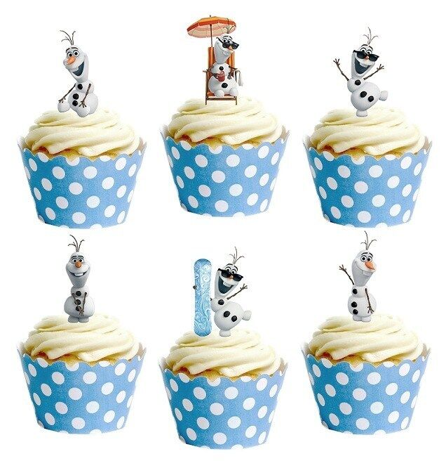28x DISNEY FROZEN OLAF edible cup cake toppers decorations ...