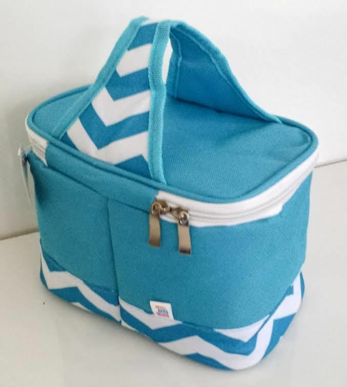 Cooler Lunch Tote Bag Turquoise White 6 Pack Mini Chevron