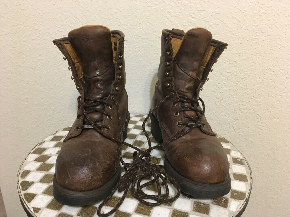 Distressed Brown Leather Chippewa Steel Toe Lace Up Logger