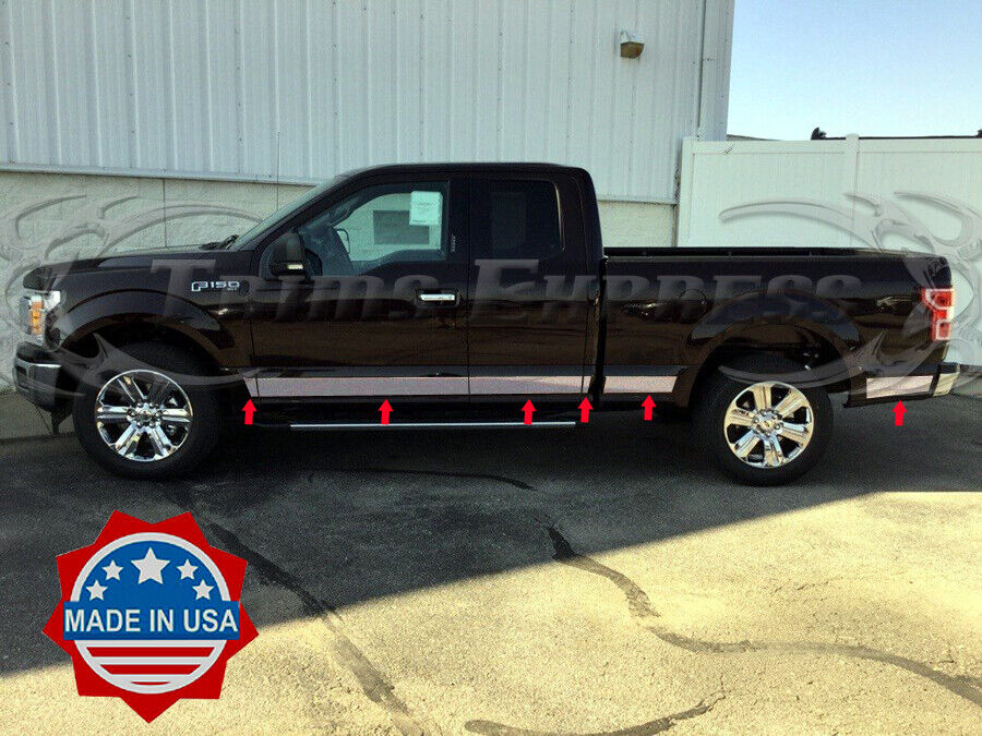 2015 2017 ford f 150 super cab 6 5 39 short bed chrome rocker panel trim 4 3 4 ebay. Black Bedroom Furniture Sets. Home Design Ideas