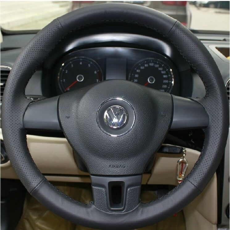 Vw Bug Engine Case For Sale: Leather Car Steering Wheel Cover Sew For VW Fox Polo