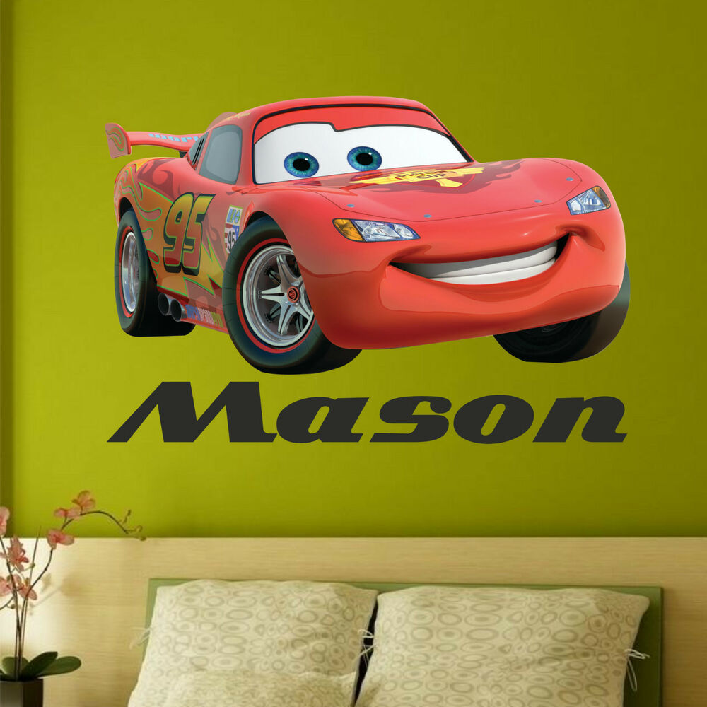 Any name disney cars wall stickers boys lightning mcqueen for Disney cars large wall mural