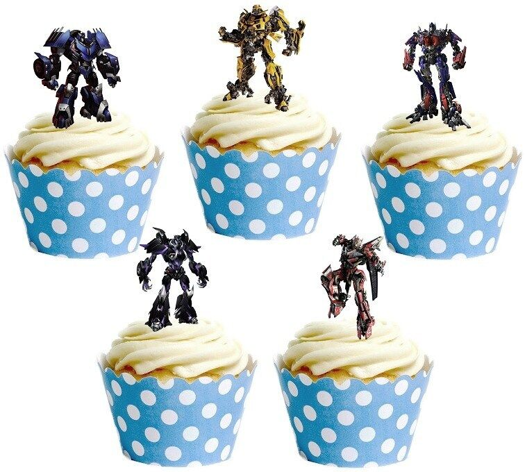 Transformers Cake Decorations Uk : TRANSFORMERS edible cup cake toppers decorations *STAND ...