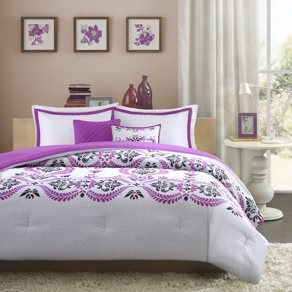 Beautiful modern chic purple plum black grey white textured girls comforter set ebay for Beautiful bedroom comforter sets