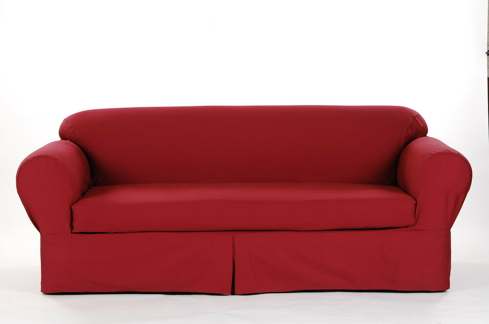 All Cotton Brushed Twill 2 Piece Round Arm Loveseat Slipcover Cover Solid Red Ebay