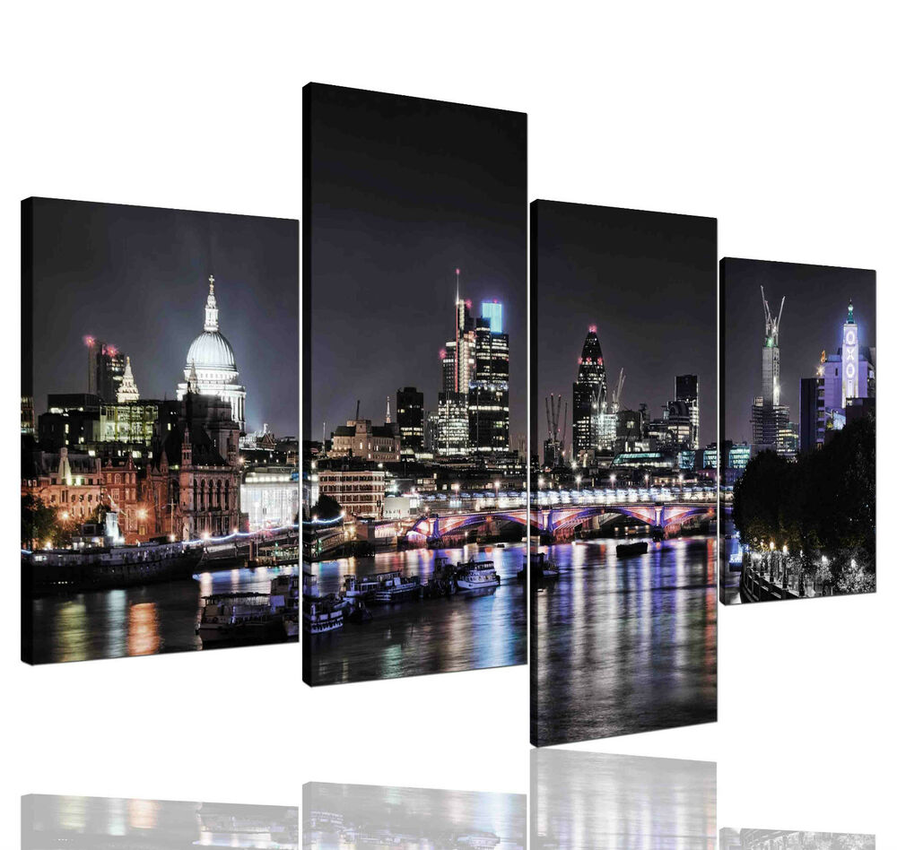 Not framed canvas prints city london skyline black home for Home decorations london