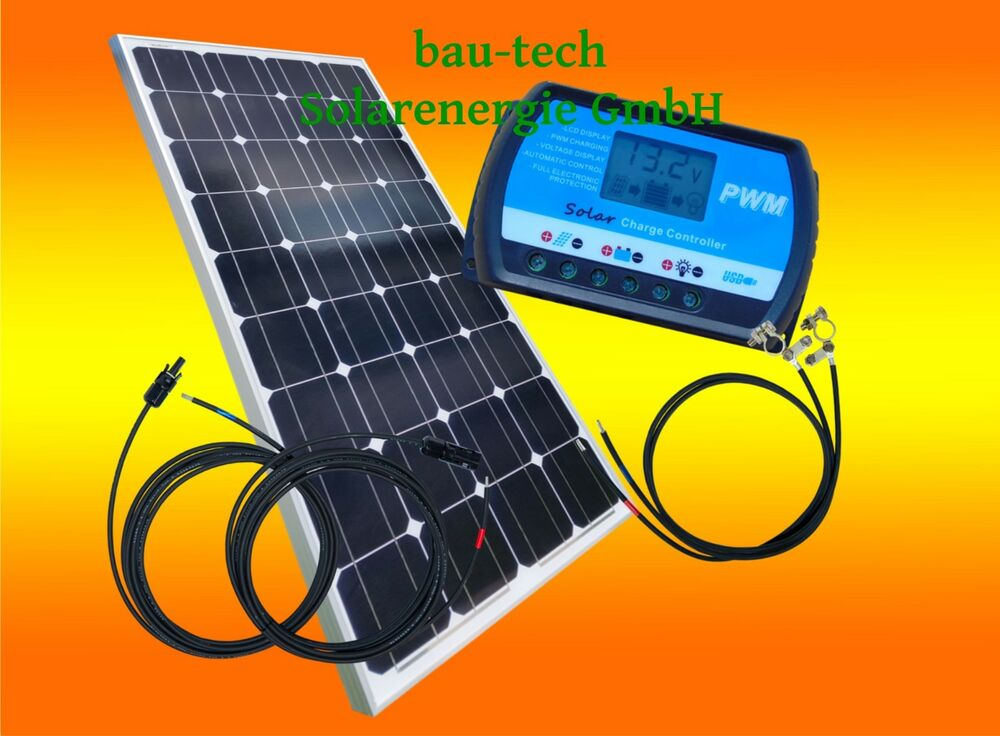 100watt 12volt solar bausatz solaranlage inselanlage basis set garten camping ebay. Black Bedroom Furniture Sets. Home Design Ideas