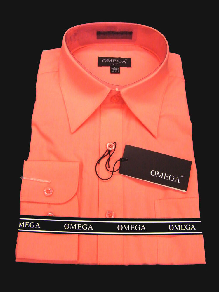 New Mens Coral Long Sleeve Dress Shirt All Sizes Length