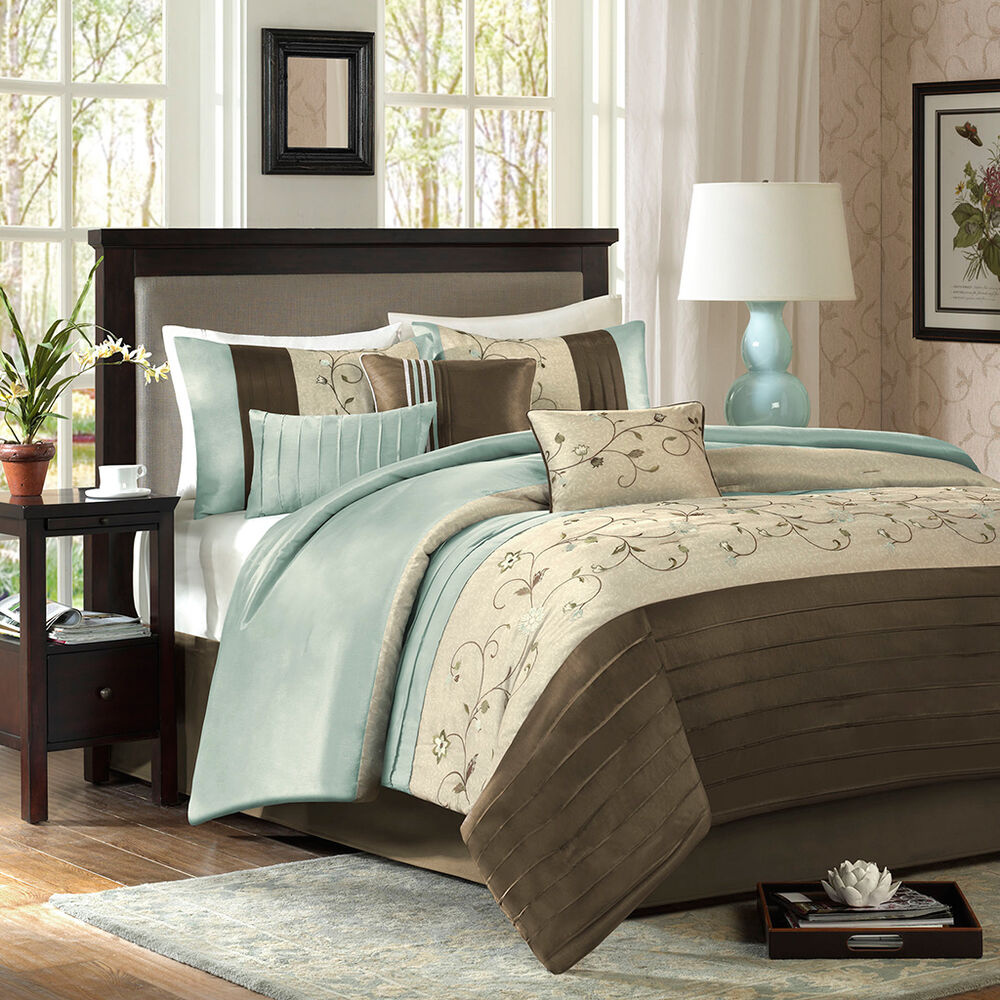 Beautiful modern elegant soft light blue aqua brown beige - Bedroom sheets and comforter sets ...