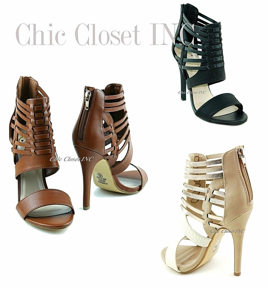 Women Color Block Gladiator Caged Strappy High Heels Ankle