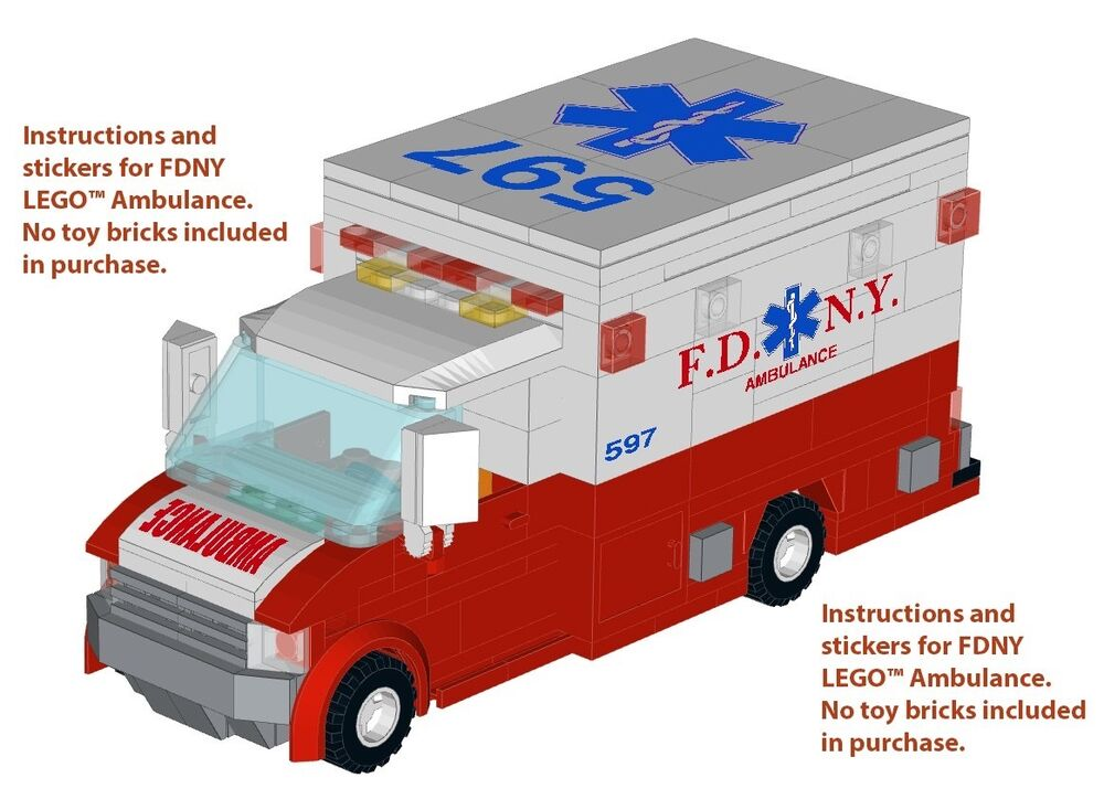 Instructions stickers 4 lego ambulance 60074 nypd fdny 4431 fire station engine ebay - Lego ambulance ...