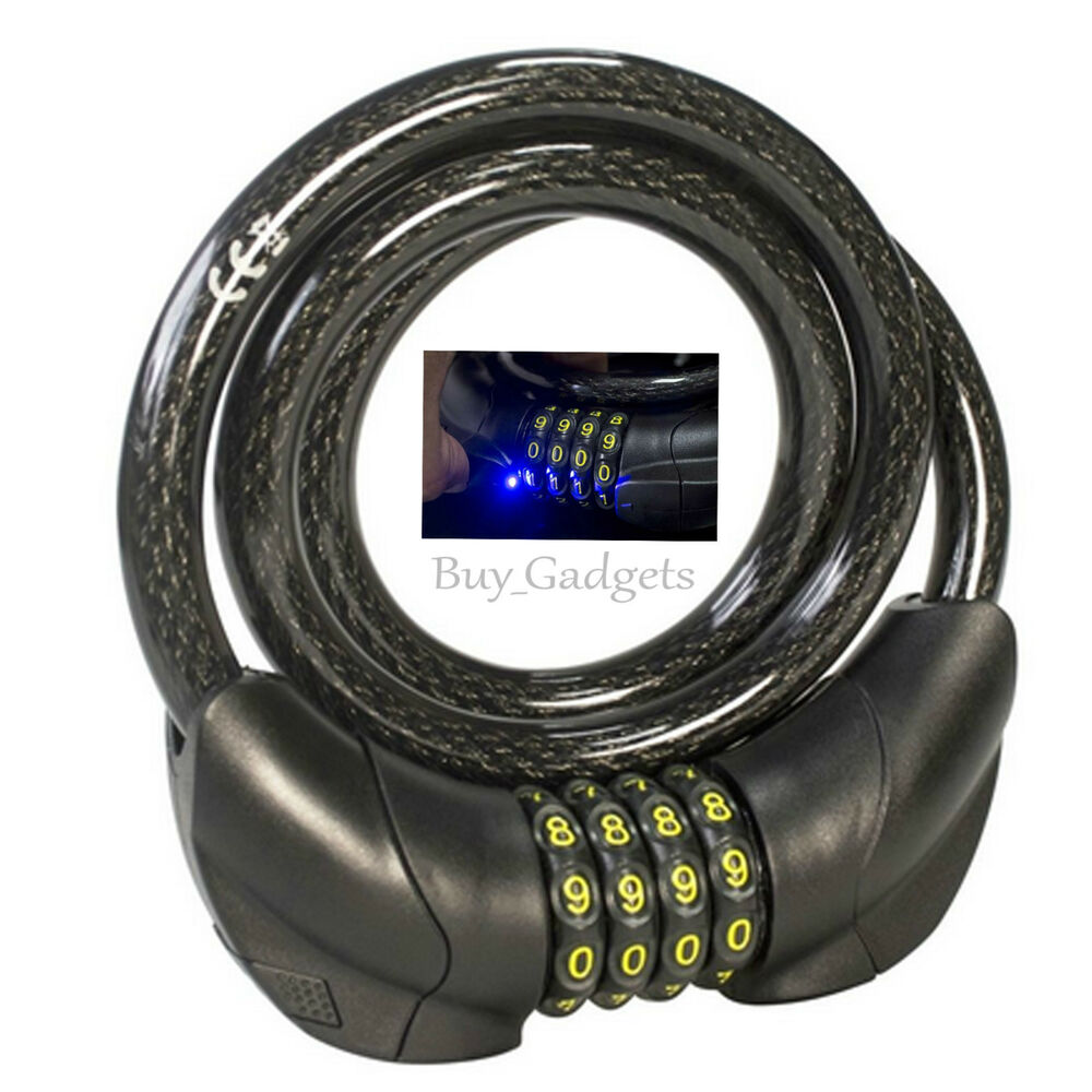 Led Combination Bike Cable Lock Bicycle Heavy Duty Thick
