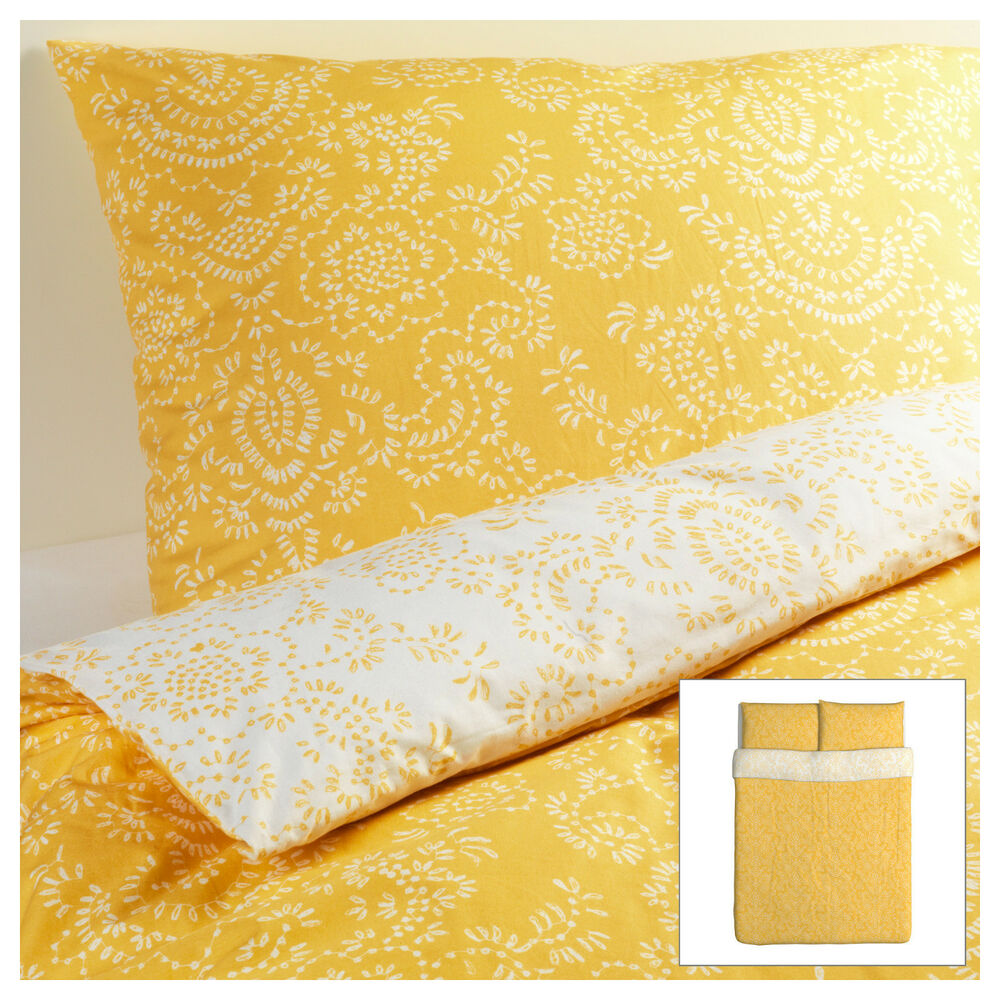 Ikea Akertistel Duvet Quilt Cover Full Queen Yellow Retro