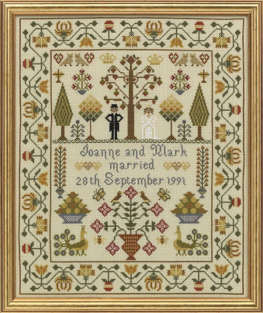 hs counted cross stitch sampler kit classic wedding sampler ebay