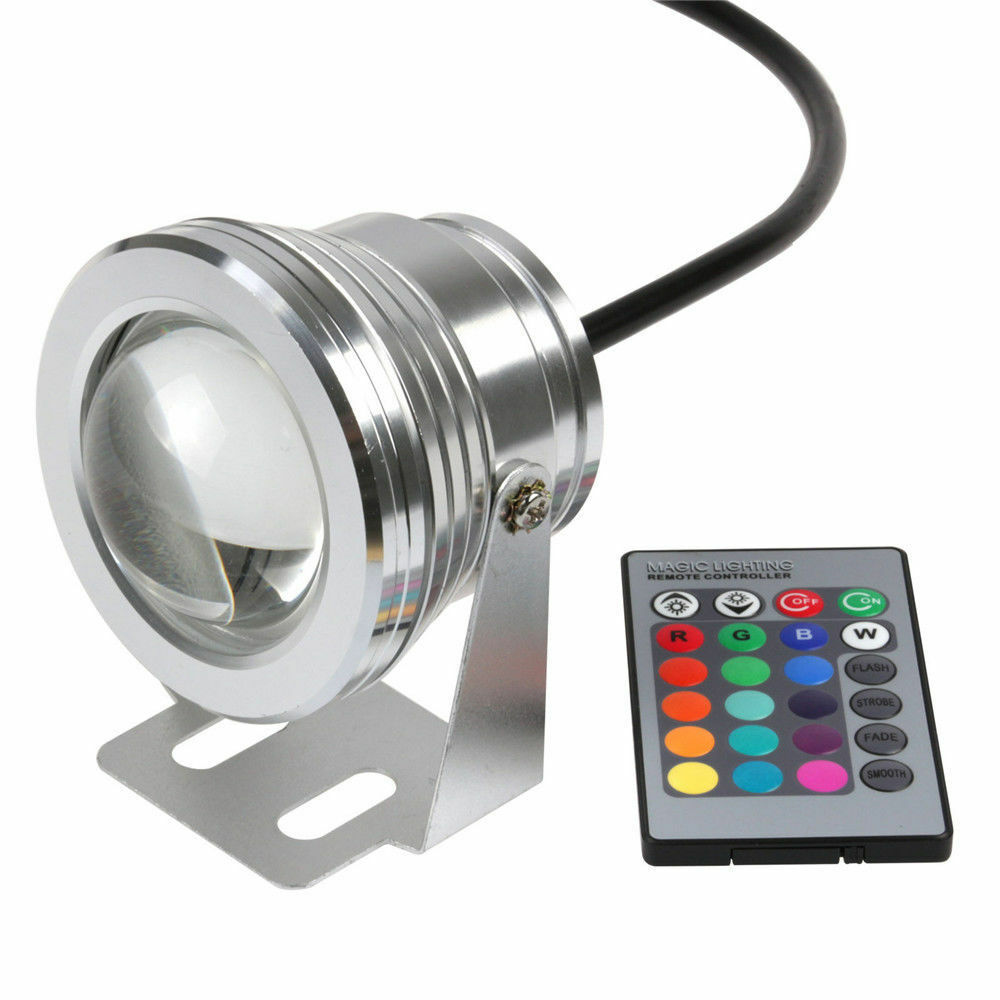10w led rgb underwater spotlight 24 key remote control spot light yard 12v ebay. Black Bedroom Furniture Sets. Home Design Ideas