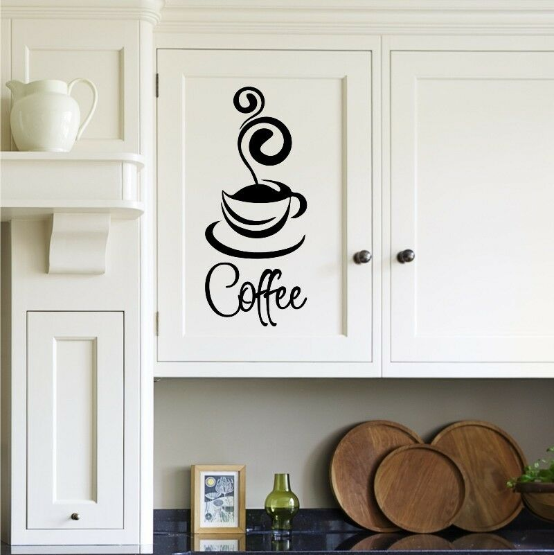 Coffee cup kitchen decal wall art wall decal wall for Mural coffee