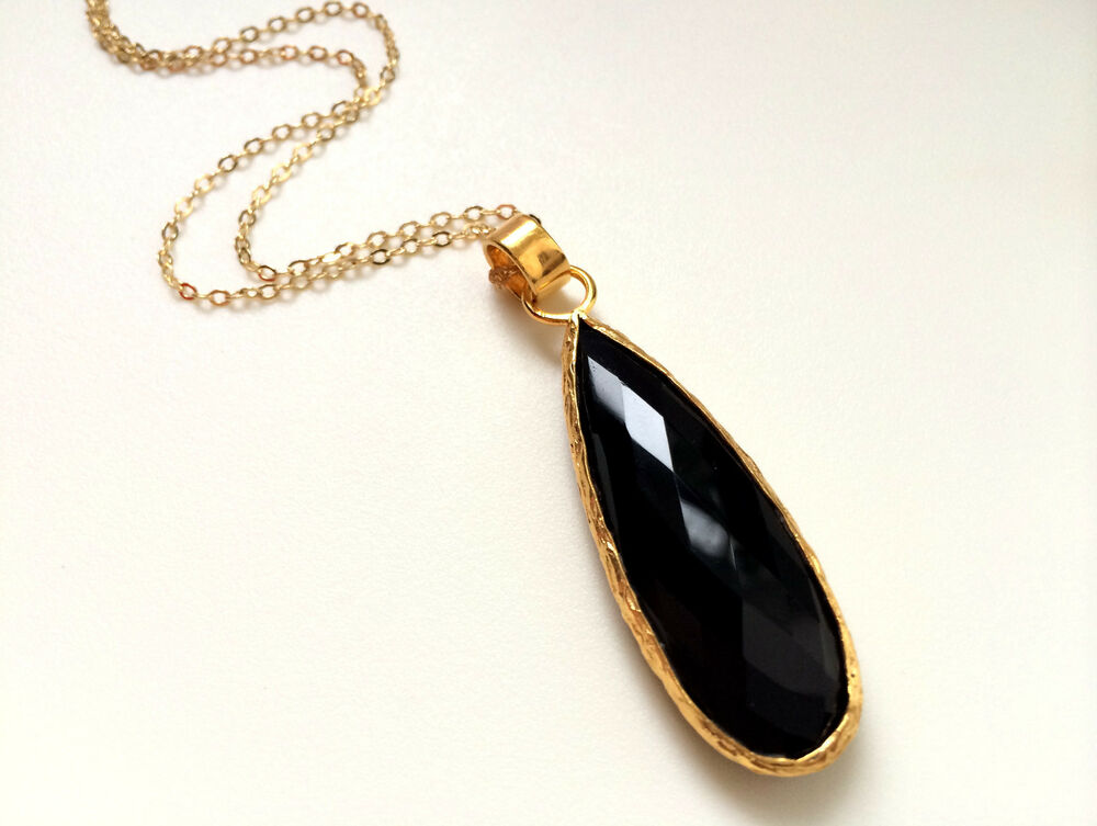 black onyx pendant gold filled chain necklace ebay