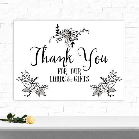 Thank You Sign For Wedding Gift Table : A4 Thank You Wedding Sign for Gift Table Post Box Eco Card BUY 2 GET 1 ...