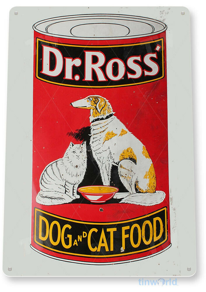 Tin sign dr ross dog and cat food decor art kitchen for Plaque decorative cuisine