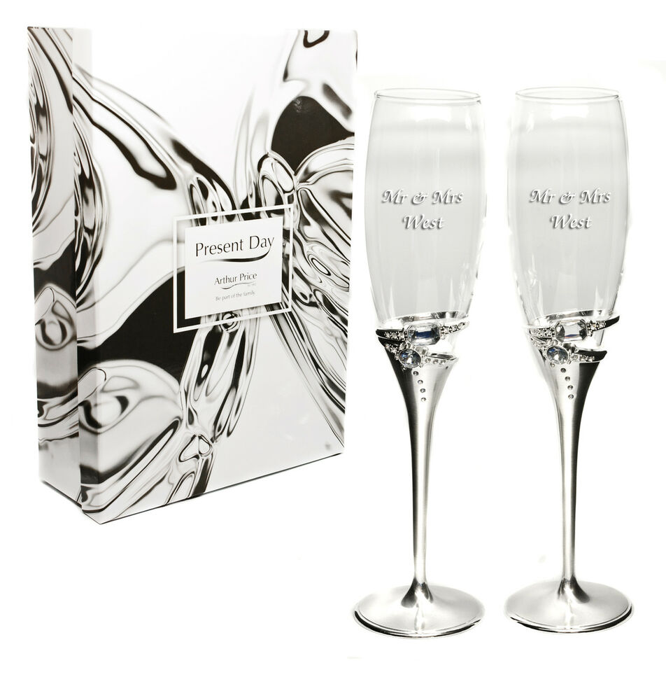 ... Plated Diamante Ring Champagne Flutes, Engraved Wedding Gift eBay